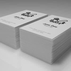business cards with multiple names